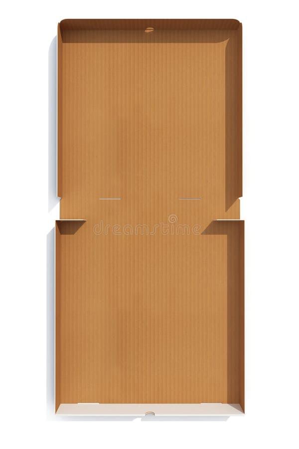 Otwartego pustego pizzy pudełka widoku odgórny odosobniony na bielu świadczenia 3 d royalty ilustracja