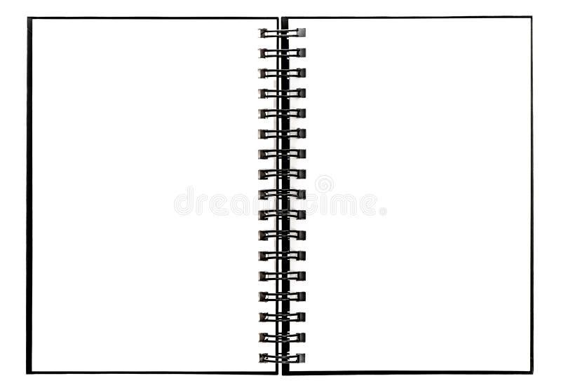 Otwartej ślimakowatej segregator książki odosobniony biały tło zdjęcia stock