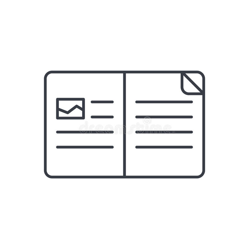 Otwartej książki cienka kreskowa ikona Liniowy wektorowy symbol ilustracja wektor