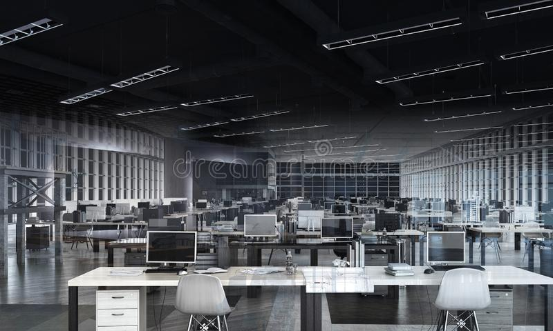 Otwartej przestrzeni biura miejsce pracy zdjęcia stock