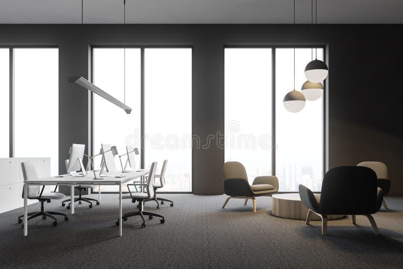Otwartej przestrzeni biuro z holu terenem, boczny widok ilustracja wektor