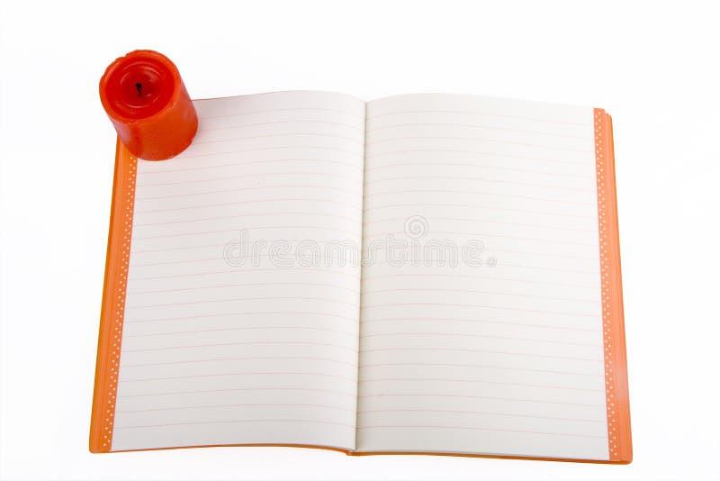 otwarty świeczka notatnik obraz royalty free