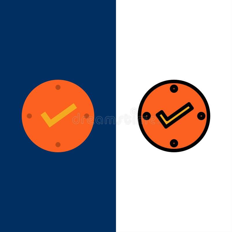 Otwarty, cwelich, Zatwierdzający, czek ikony Mieszkanie i linia Wypełniający ikony Ustalony Wektorowy Błękitny tło ilustracji