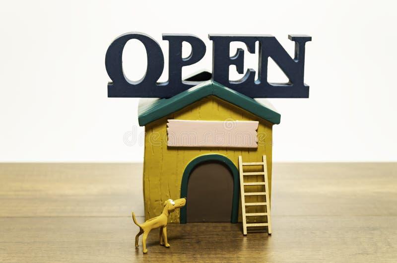 Otwarty dom z żółtym psem i drabina w przodzie fotografia stock