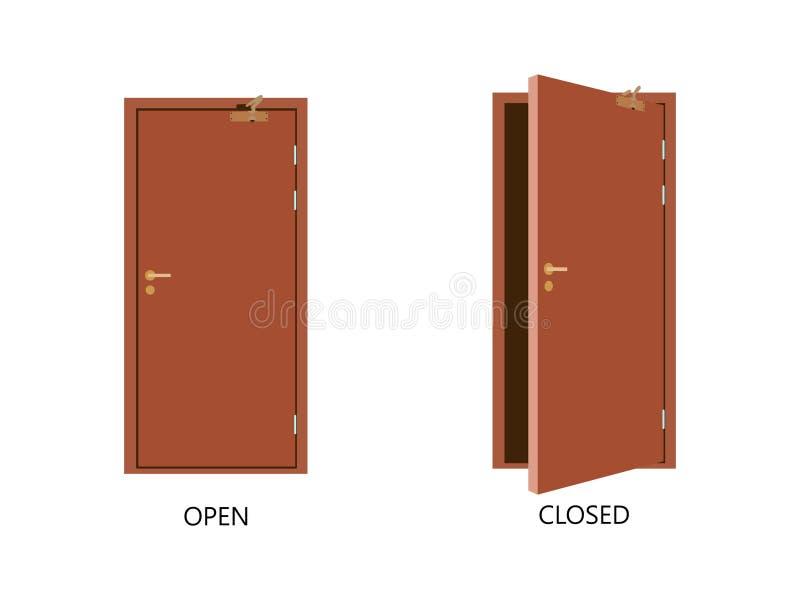 Otwarty i zamknięty drzwi domu przód Drewniany otwarty wejście z jaśnienia światłem wektor royalty ilustracja