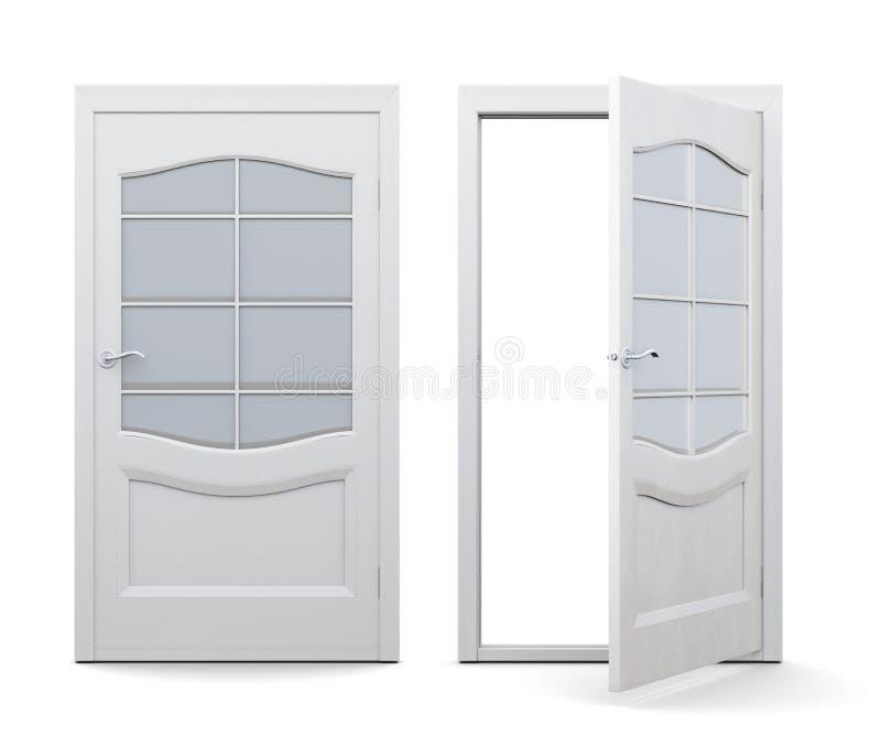 Otwarty i zamknięty drzwi na białym tle 3d odpłacają się ima ilustracja wektor