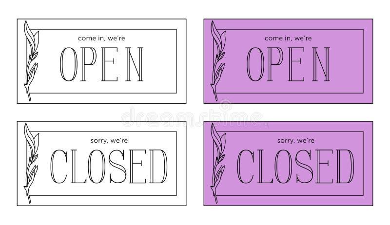 Otwarty i zamknięty wektoru talerz Minimalistic styl ilustracji