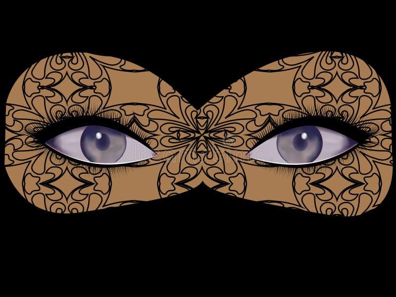 Otwarty kobiecy spojrzenie, oczy z kilka cieniami szarozielona herbata, szafir, kobalt royalty ilustracja