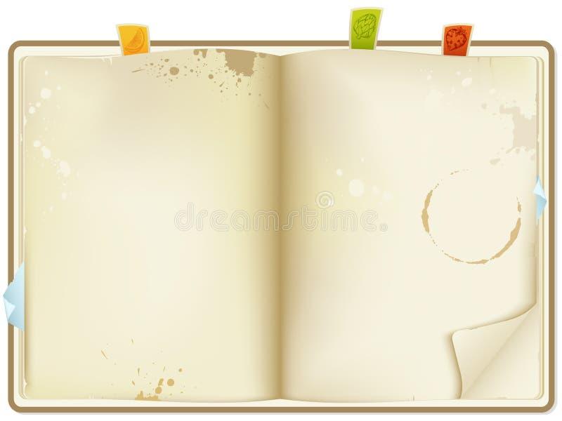 otwarty książka przepis ilustracji