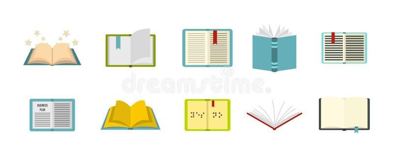 Otwarty książkowy ikona set, mieszkanie styl ilustracji