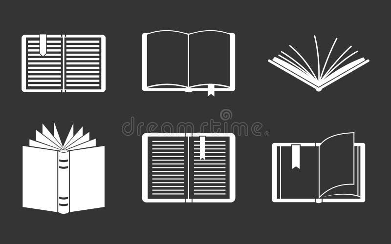 Otwarty książkowy ikona set popielaty ilustracji