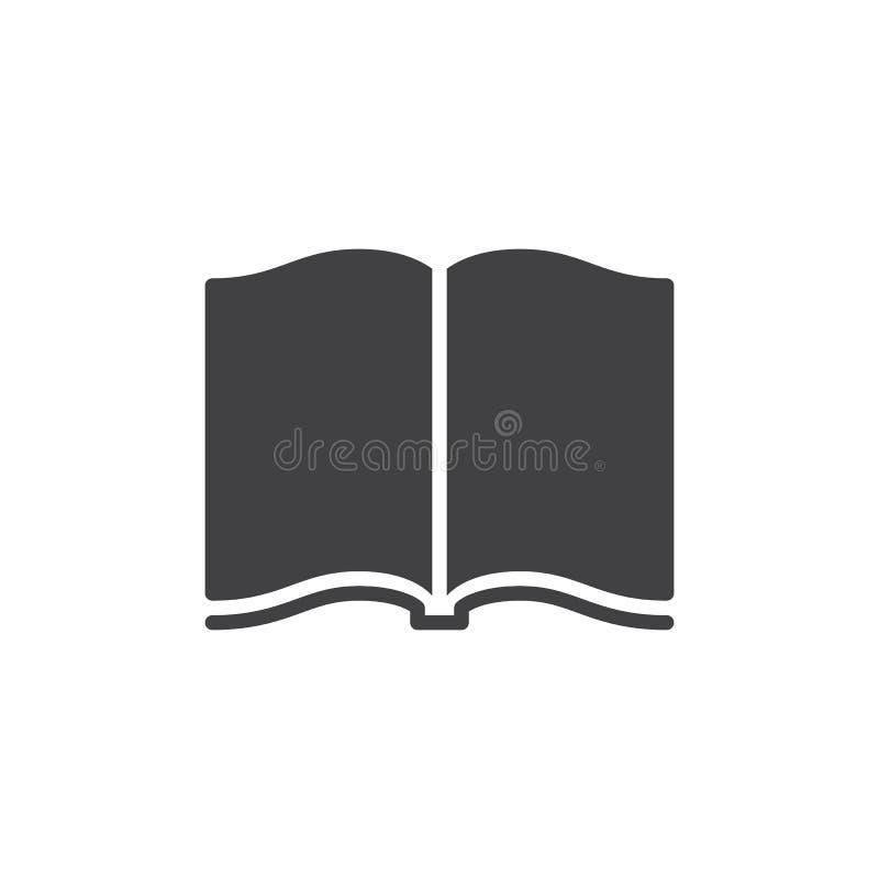 Otwarty książkowy ikona wektor, wypełniający mieszkanie znak, stały piktogram odizolowywający na bielu ilustracja wektor