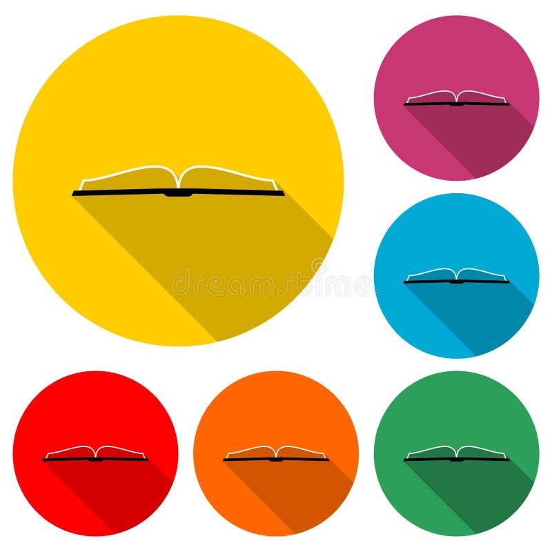 Otwarty książkowy logo, Książkowa ikona, koloru set z długim cieniem ilustracji