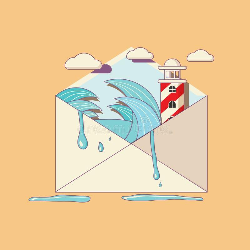 Otwarty list poczta ilustracja wektor