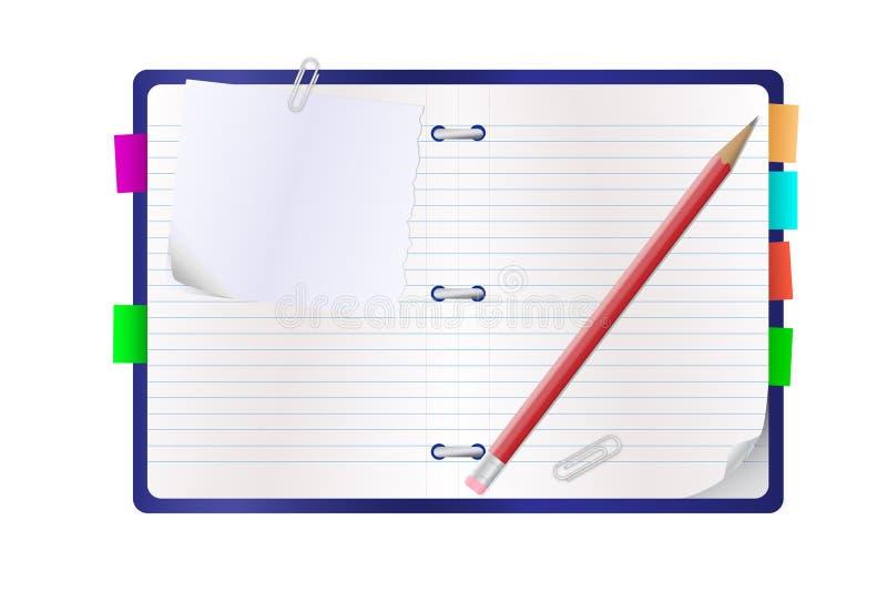 otwarty notepad ołówek royalty ilustracja