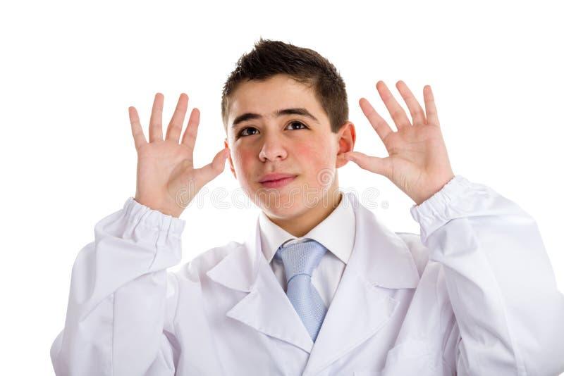 Otwarty palma gest chłopiec lekarką zdjęcia royalty free