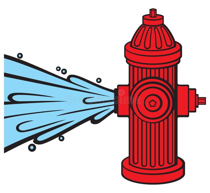 otwarty pożarniczy hydrant ilustracja wektor