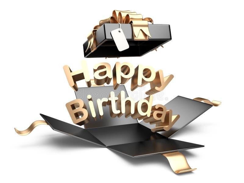 Otwarty prezenta pudełko z złocistym łękiem i faborkiem urodzinowa szczęśliwa wiadomość ilustracji