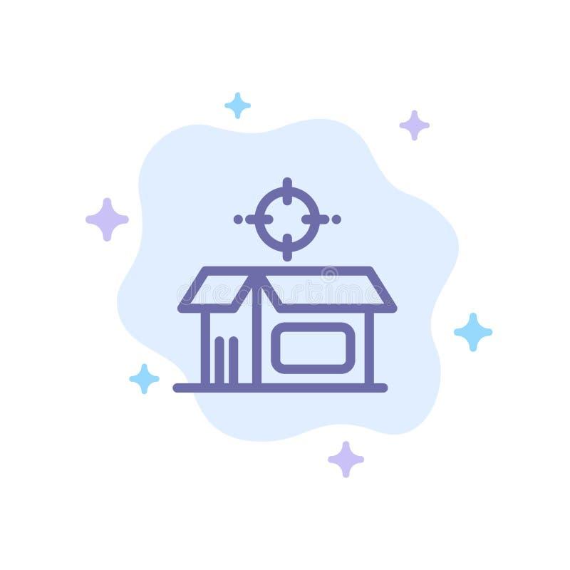 Otwarty produkt, pudełko, Otwarty pudełko, produkt Błękitna ikona na abstrakt chmury tle ilustracji