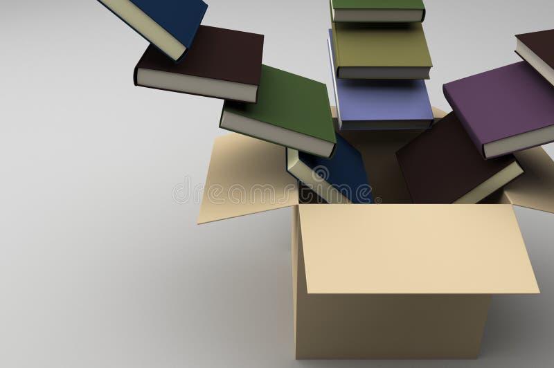 Otwarty pudełko z książkami płynie w je royalty ilustracja