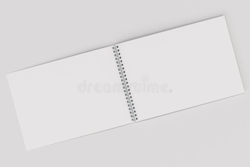 Otwarty pusty biały notatnik z metal spiralą - odskakuje na białym tle ilustracja wektor