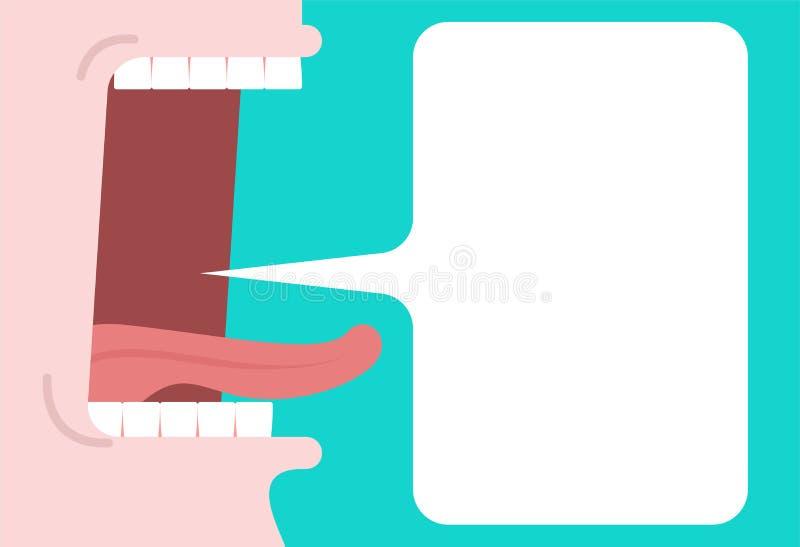 Otwarty usta i mowy bąbel miejsce tekst jęzor i zęby royalty ilustracja