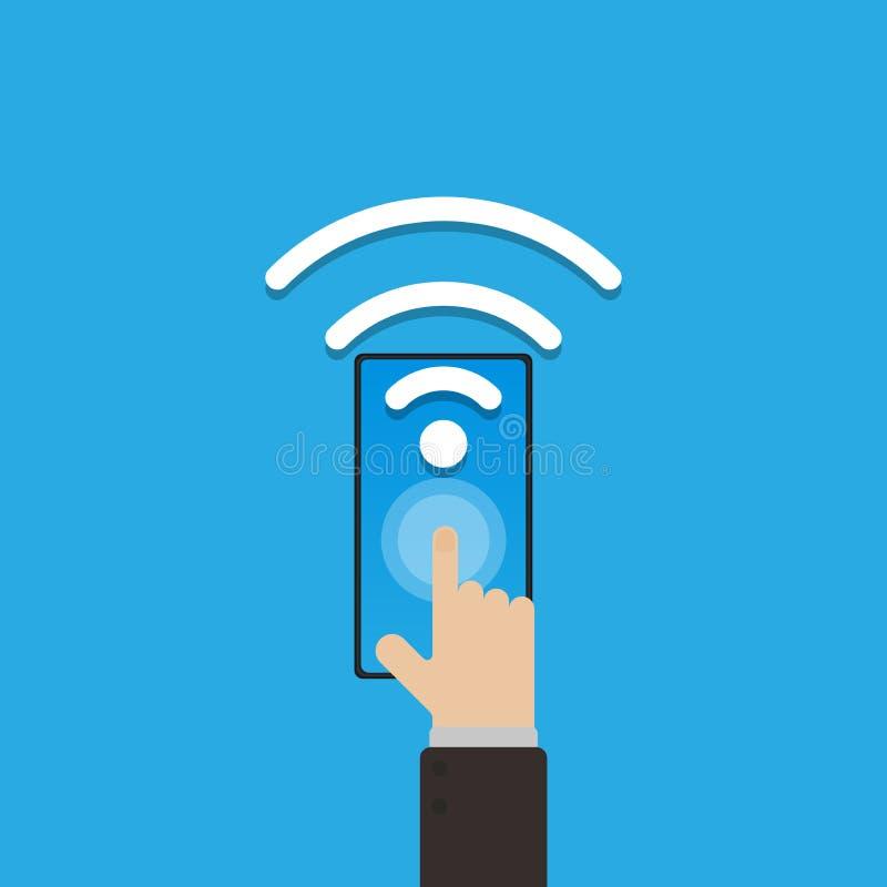 Otwarty wifi związek na smartphone, IOT rzecz internet jest nowym pokoleniem, technologia dla mądrze życia, ręka chwyta smartphon ilustracji