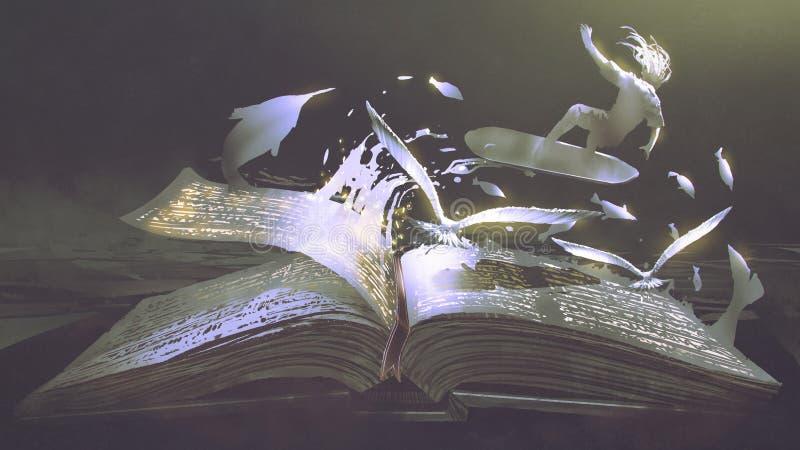 Otwierać magiczną książkę na ciemnym tle ilustracji
