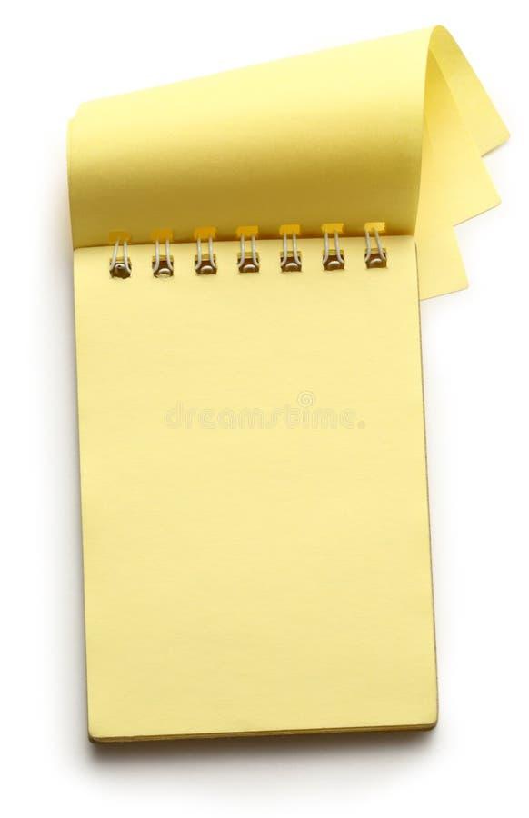Otwiera żółtego notepad zdjęcie royalty free