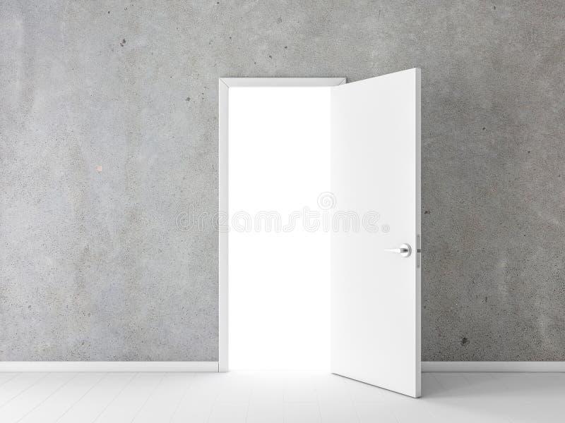 Otwiera białego drzwi w pustym pokoju z betonową ścianą zdjęcie royalty free