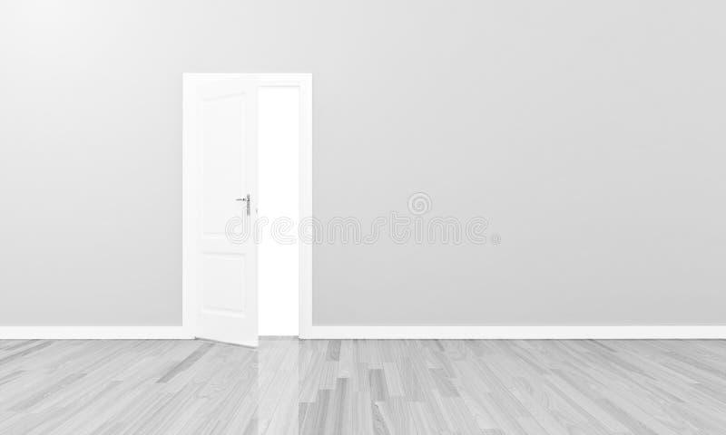Otwiera białą drzwiową wielką pustą ścianę royalty ilustracja