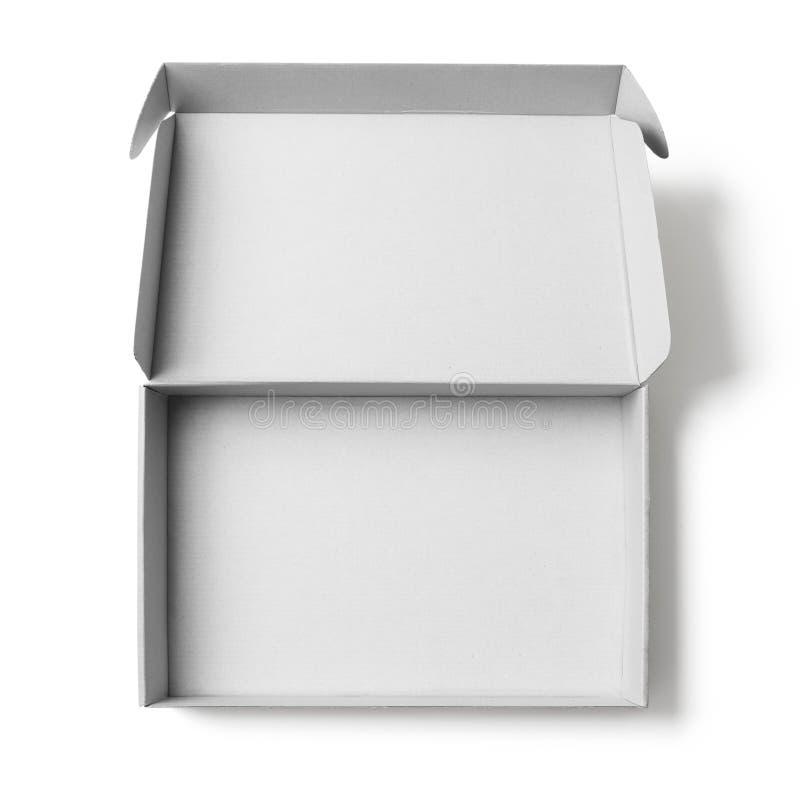 Otwiera białego kartonu odgórnego widok odizolowywającego bez cienia ścinku ścieżki zawierać zdjęcia stock