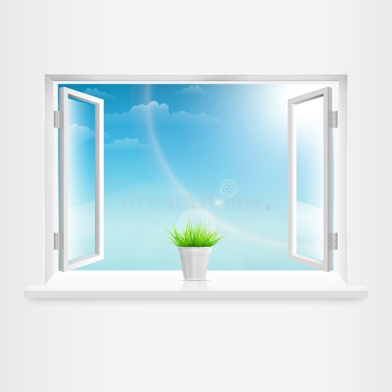 Otwiera Białego okno Z Flowerpot. royalty ilustracja