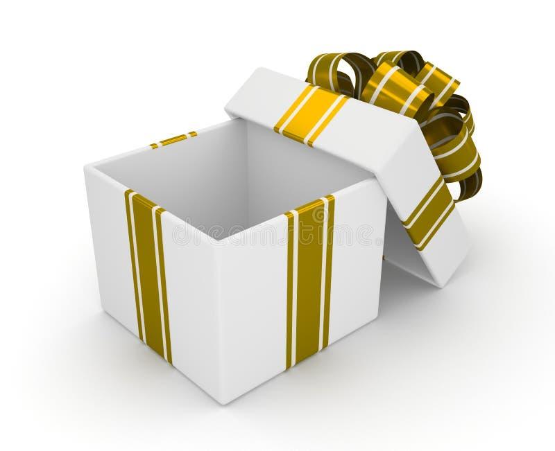 Otwiera białego prezenta pudełko z złocistym łękiem odizolowywającym na białym tle 3 ilustracji