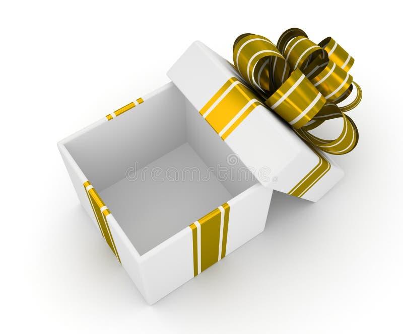 Otwiera białego prezenta pudełko z złocistym łękiem odizolowywającym na białym tle 2 royalty ilustracja