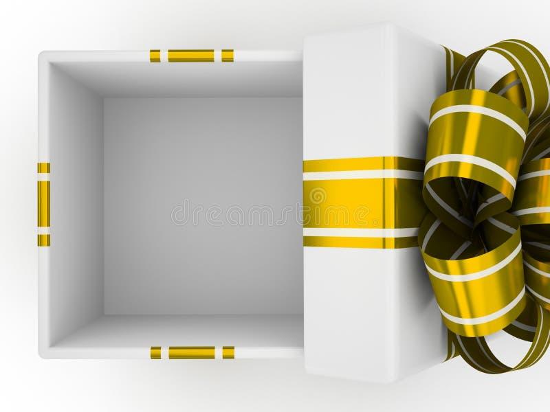 Otwiera białego prezenta pudełko z złocistym łękiem odizolowywającym na białym tle 1 ilustracji