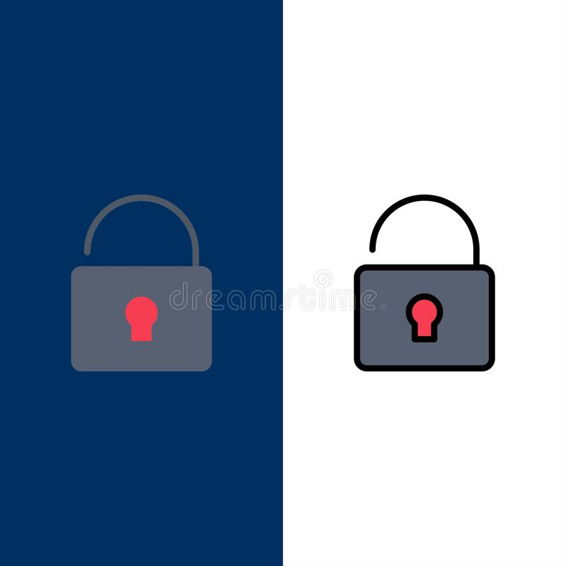 Otwiera, Blokuje, ochron ikony Mieszkanie i linia Wypełniający ikony Ustalony Wektorowy Błękitny tło ilustracja wektor