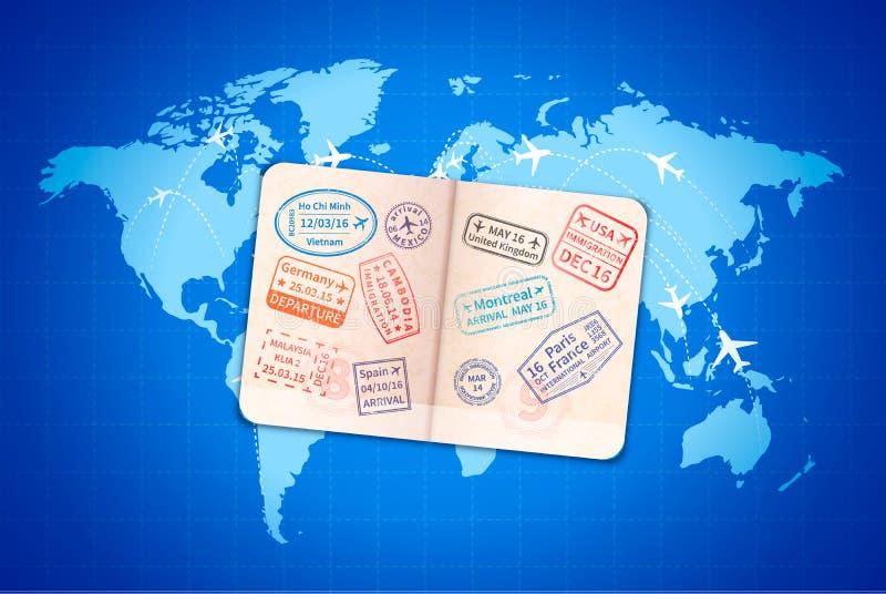 Otwiera cudzoziemskiego paszport z międzynarodowymi wiza znaczkami na błękitnej światowej mapie z linii lotniczych trasami ilustracji