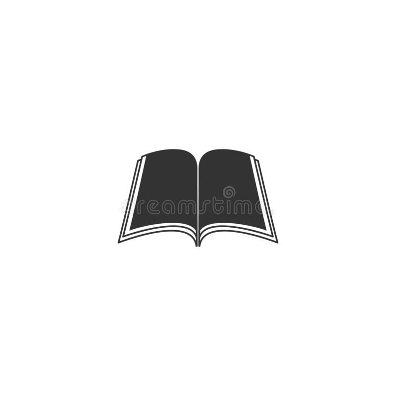 Otwiera czarną książkę z stronami odizolowywać na białym tle Wiedzy mieszkania ikona ilustracji