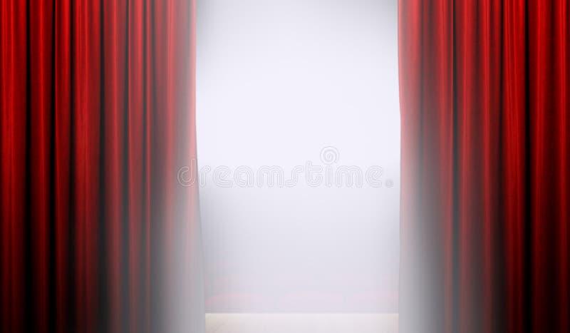 Otwiera czerwoną zasłonę na scenie z światłem reflektorów zdjęcie stock