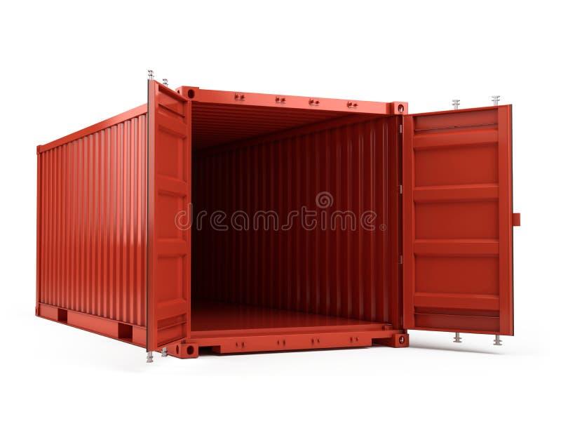Otwiera Czerwonego ładunku kontener przeciw białemu tłu royalty ilustracja
