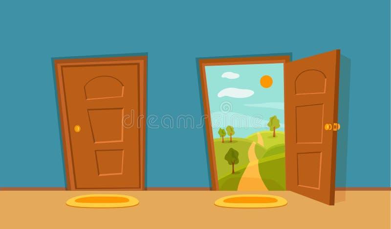 Otwiera drzwiowej kresk?wki kolorow? wektorow? ilustracj? i zamyka ilustracji