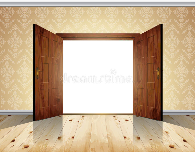 Otwiera dwoistego drzwi ilustracja wektor