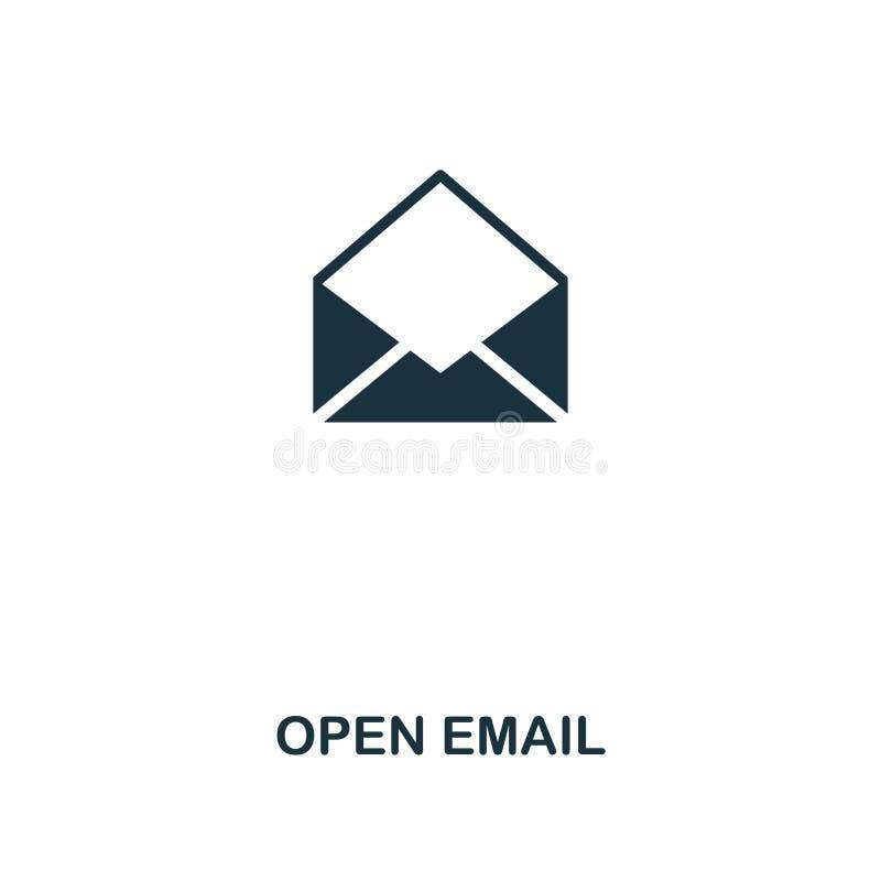 Otwiera email kreatywnie ikonę Prosta element ilustracja Otwarty emaila pojęcia symbolu projekt od kontaktu my inkasowi Doskonali ilustracja wektor