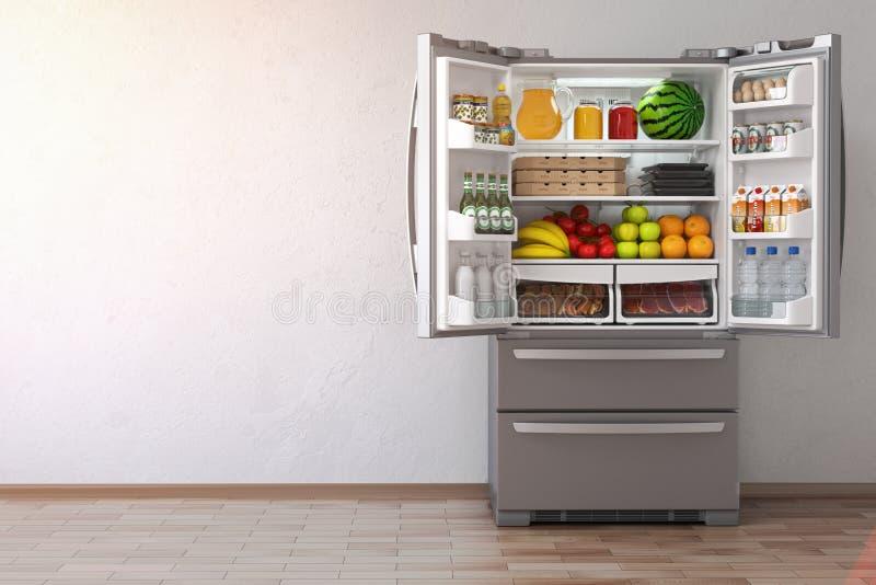 Otwiera fridge chłodziarkę jedzenie w pustym kuchennym inte pełno royalty ilustracja