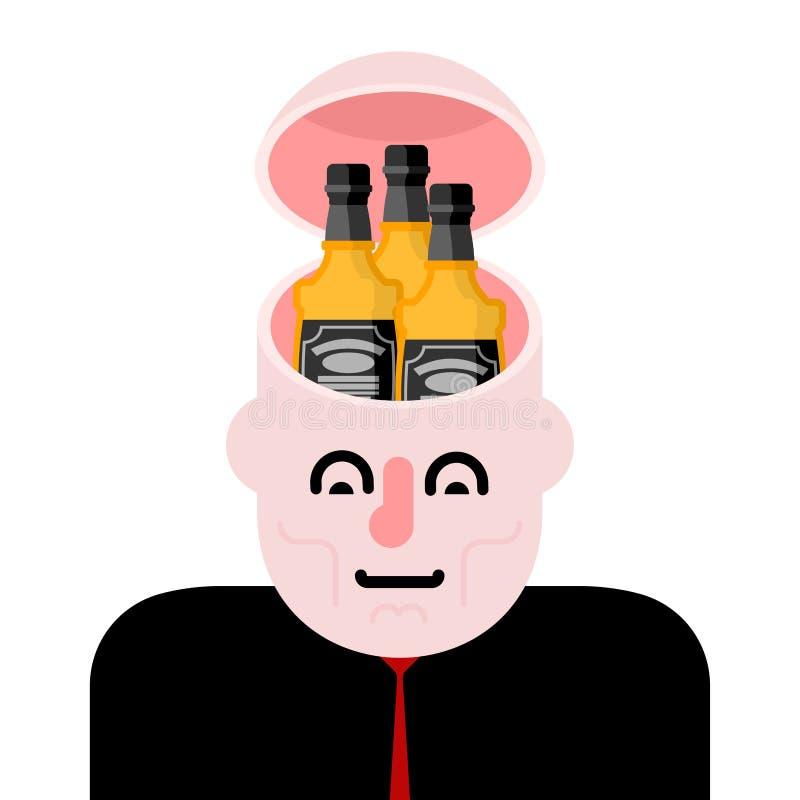 Otwiera głowę i butelkę whisky Alkohol w głowie Alkoholiczka Braja ilustracji