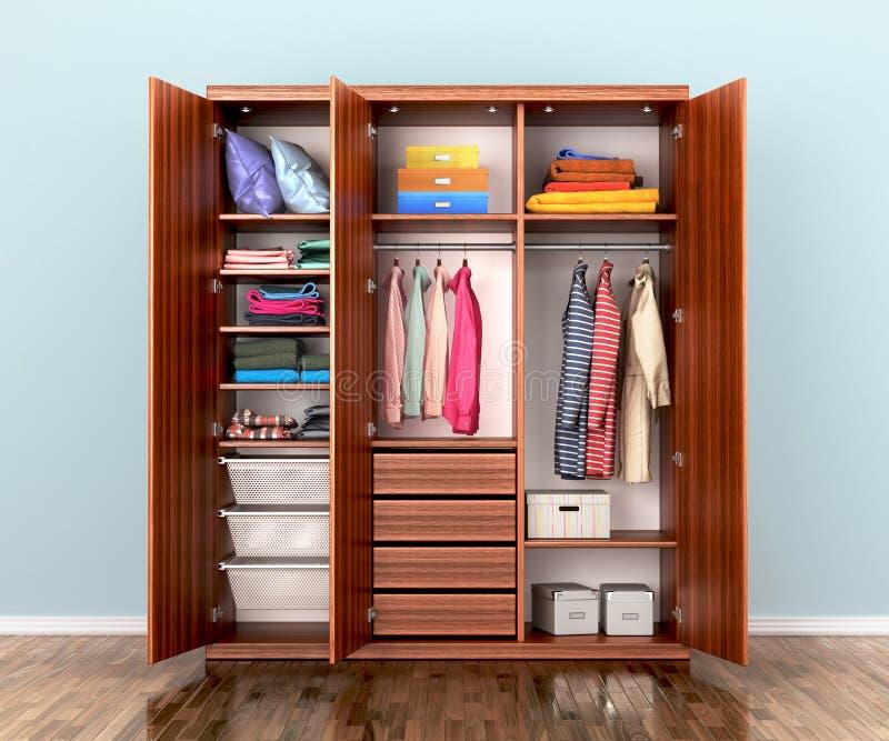 Otwiera garderoba przedział z odziewa ilustracja wektor