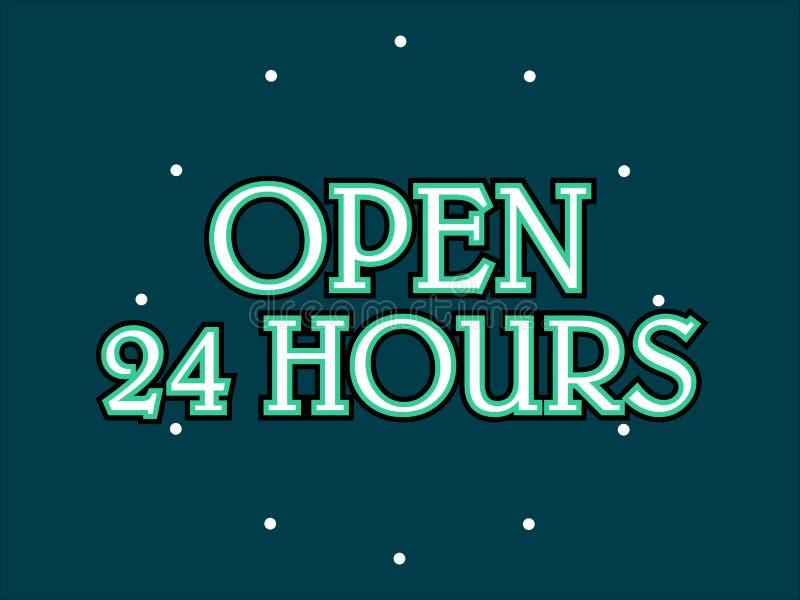 Otwiera 24 godziny zaopatruje wektor royalty ilustracja