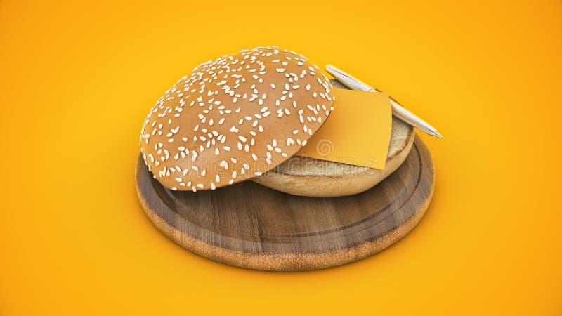 Otwiera hamburgeru chleb z pi?rem i li?ciem ilustracji
