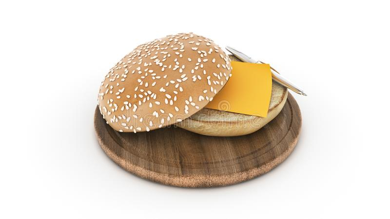 Otwiera hamburgeru chleb z pi?rem i li?ciem royalty ilustracja